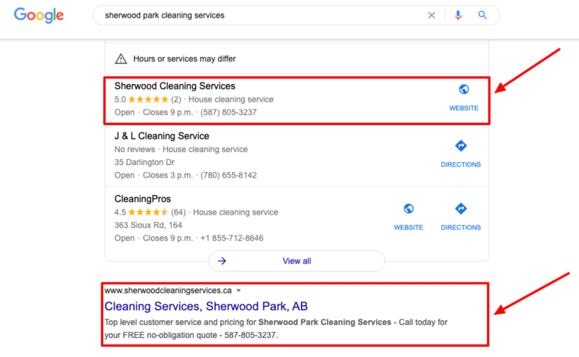 Screenshot of a company we did web design and SEO for and got them to page 1 of organic searches as well as number one of the Google Map listings, taken in Edmonton, AB